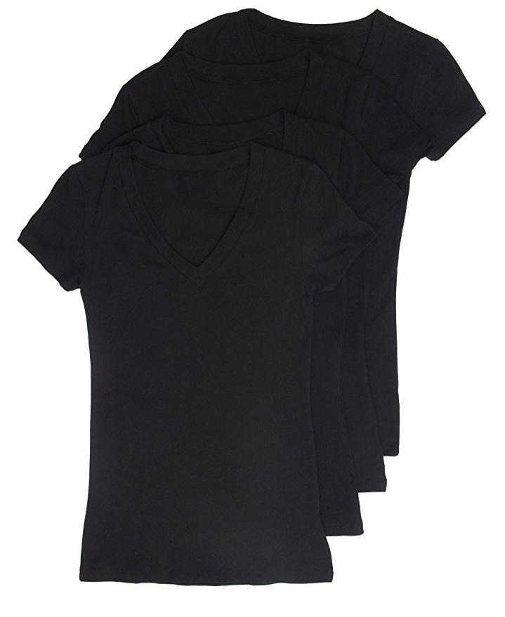 4 Pack Black V-neck t-shirts from Amazon (follow link to the ones I buy, but you can pretty much get these anywhere). I wear these with EVERYTHING. They're soft and stand up to lots of washing. $20 for a pack of 4.