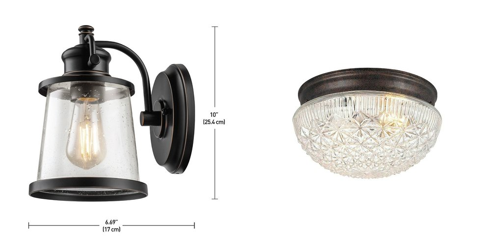 "1.   Globe Electric ""Charlie"" Sconce $32.42      2.  Hardware House Classic Clear Cut Glass NON BOOB LIGHT $21.76"