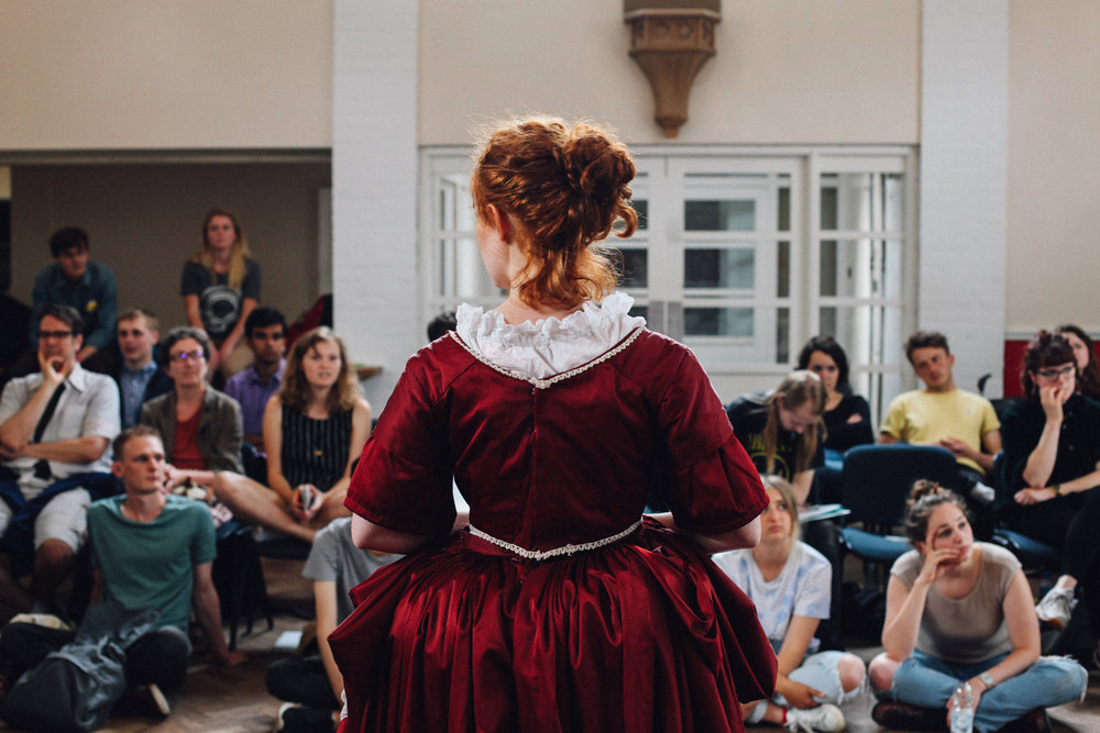 Gráinne O'Mahoney in the open dress rehearsal for  Callisto: A Queer Epic