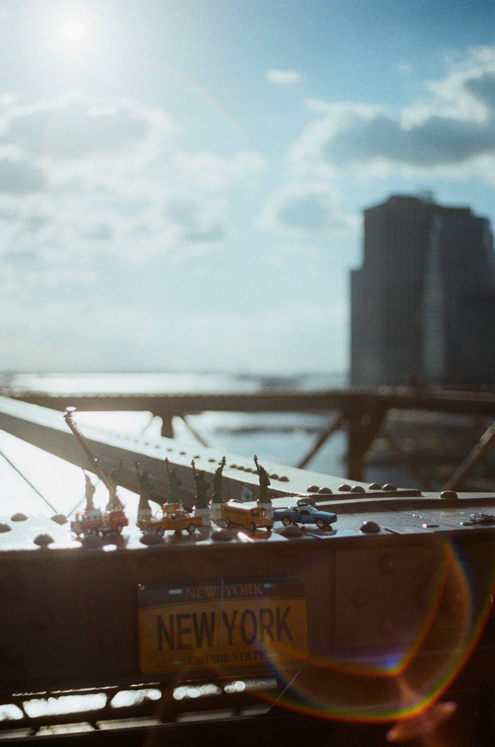 Golden hour atop Brooklyn Bridge on 35mm.