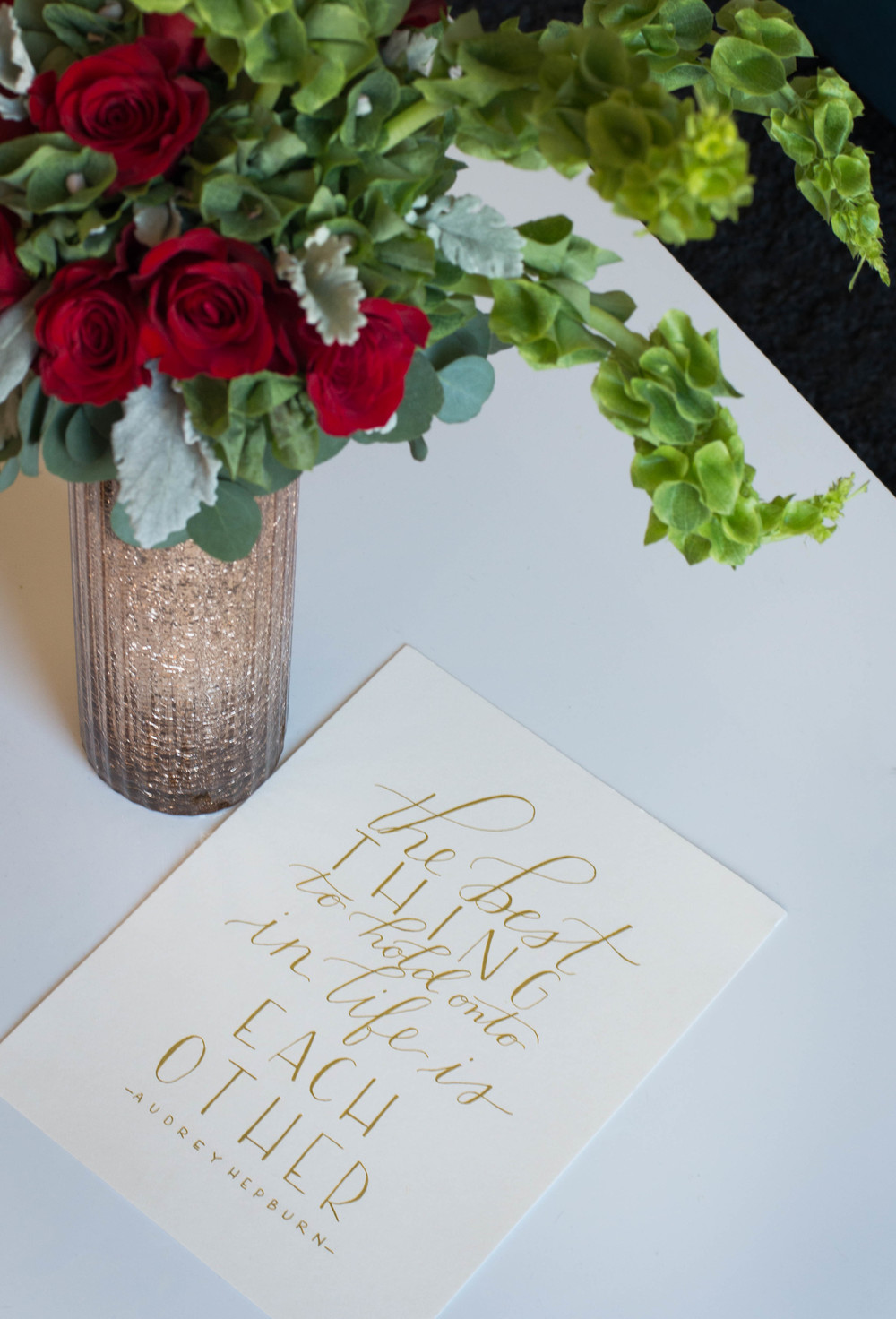 Florals by: Sarah Woodall of Gold Leaf Floral  Calligraphy by: Ginger Swan of Swan Lindsey Lettering