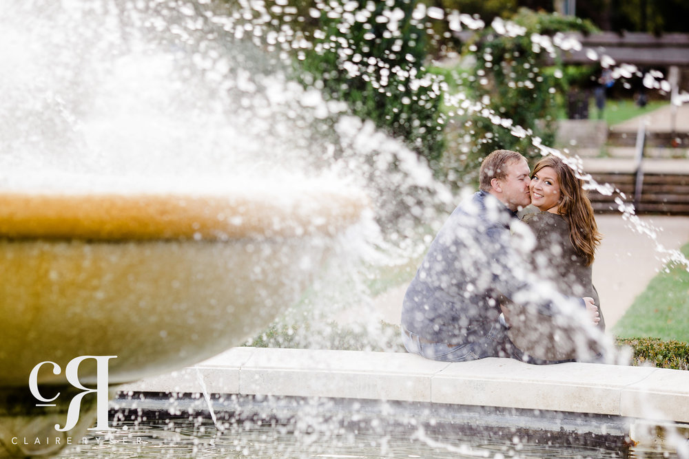 Engagement Photos Through Fountain