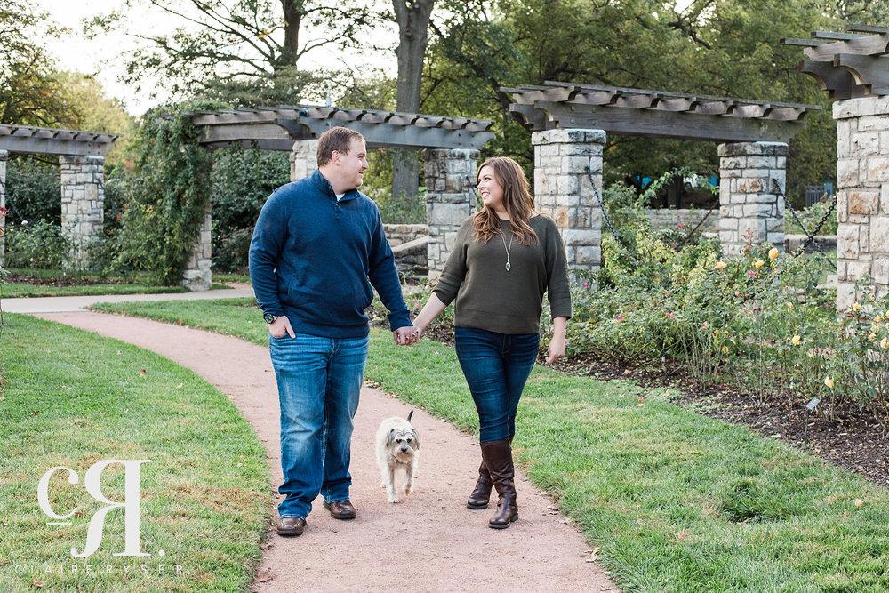 Walking Engagement Photos with Dog