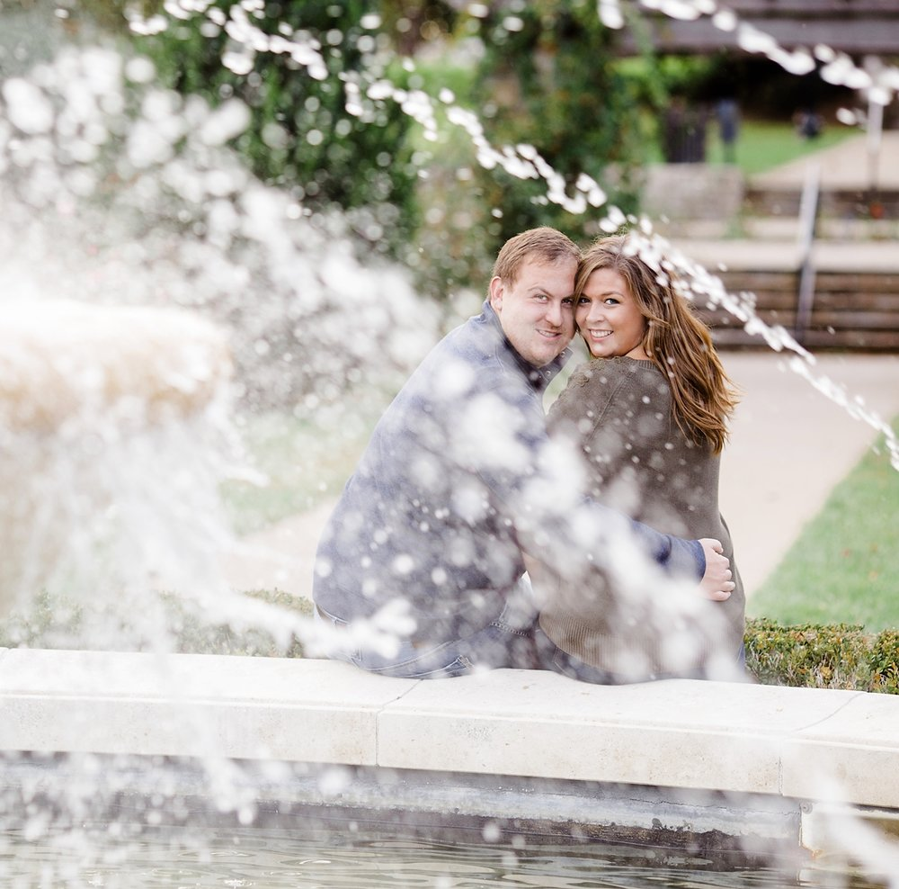 Sitting at Fountain Engagement