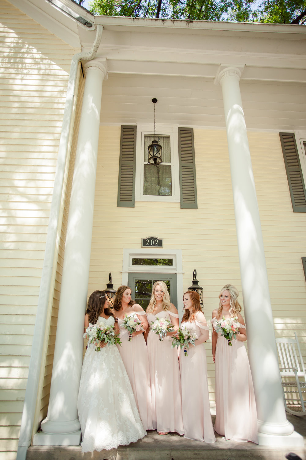 Bridal Party In Front of Historic Browning Inn