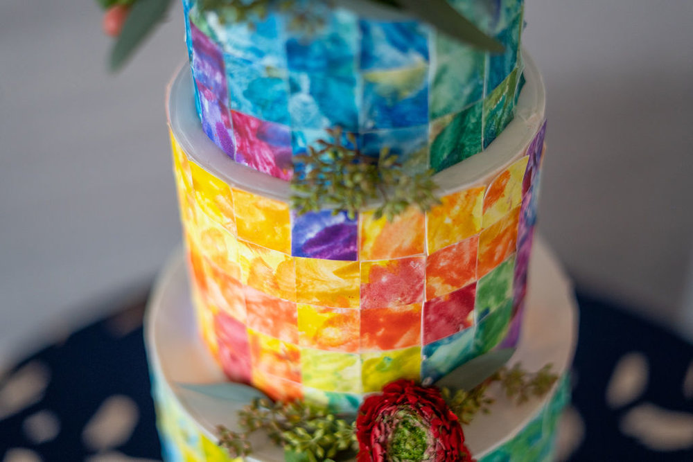 Water Color Wedding Cake | Summerside Photography