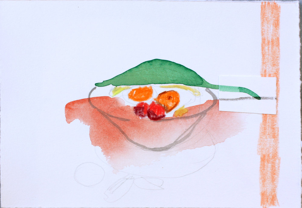 Mississippi Fruit Bowl with Mound (the earthly remains of the Natchez Indians) and Red