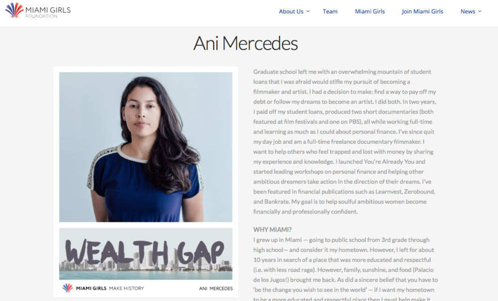 Miami Girls Make History: Ani Mercedes  The Miami Girls Foundation