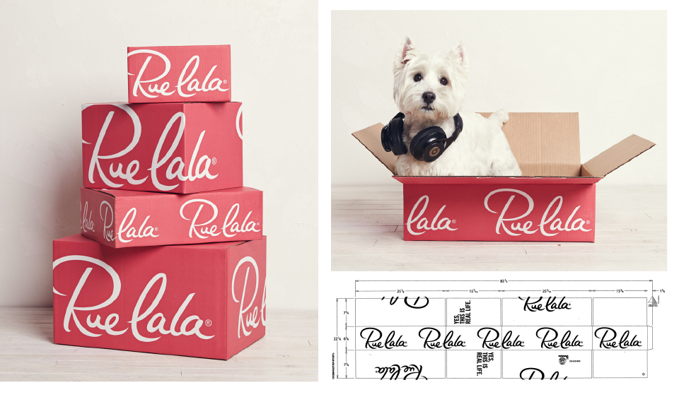 Conceptualized and designed Rue La La packaging for the holiday season. This included 11 box sizes from small to large. I partnered with a copywriter to create a unique 'Rueism' that was printed on the flap to excite the customer during their unboxing experience.