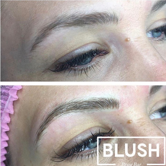Top picture: After healing from initial microblading. Bottom: After touch up