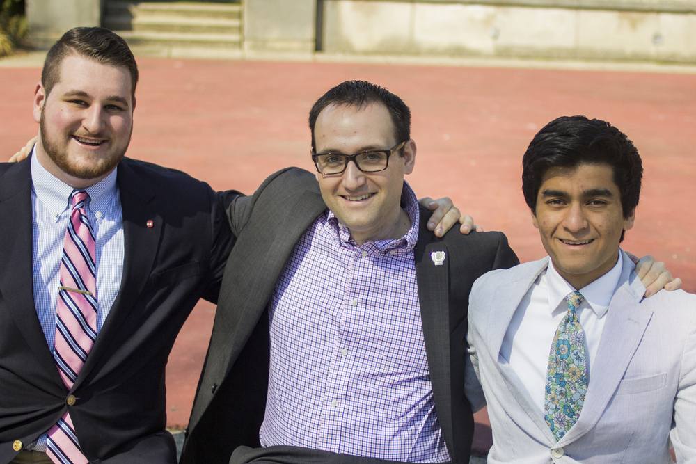 Previous head delegate Vincent Hayden (center) with our current head delegates Colin Dailey and Vikas Munjal