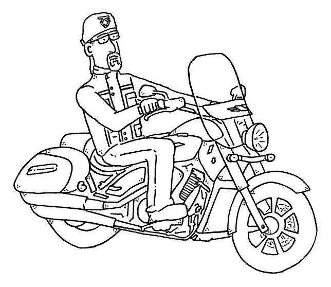 'Lee' motorbike cartoon by Sid Wright sidwright.co.uk