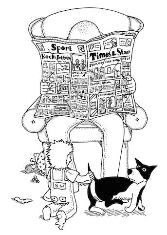 'Reading' cartoon by Sid Wright sidwright.co.uk