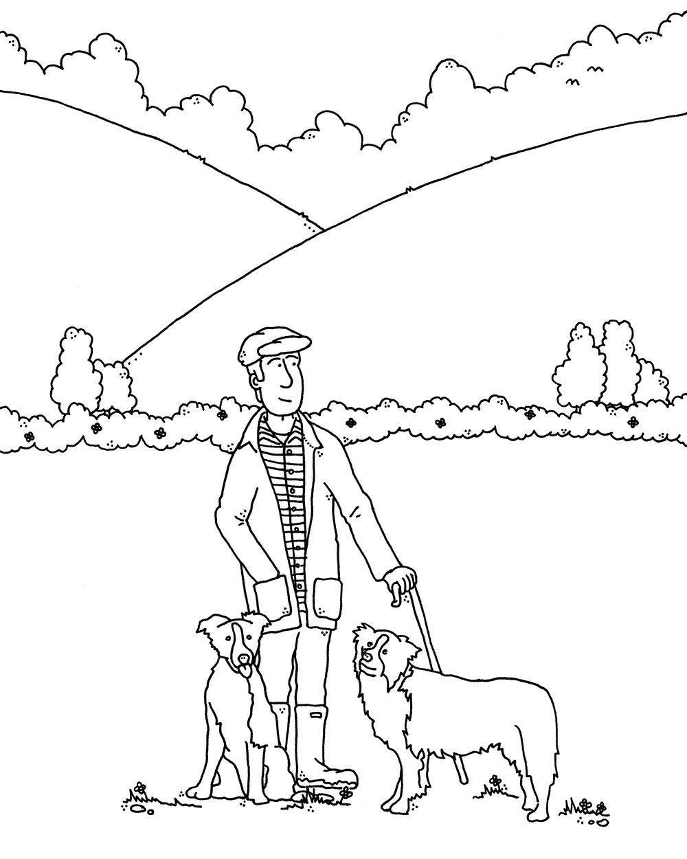 Sheepdogs cartoon by Sid Wright sidwright.co.uk