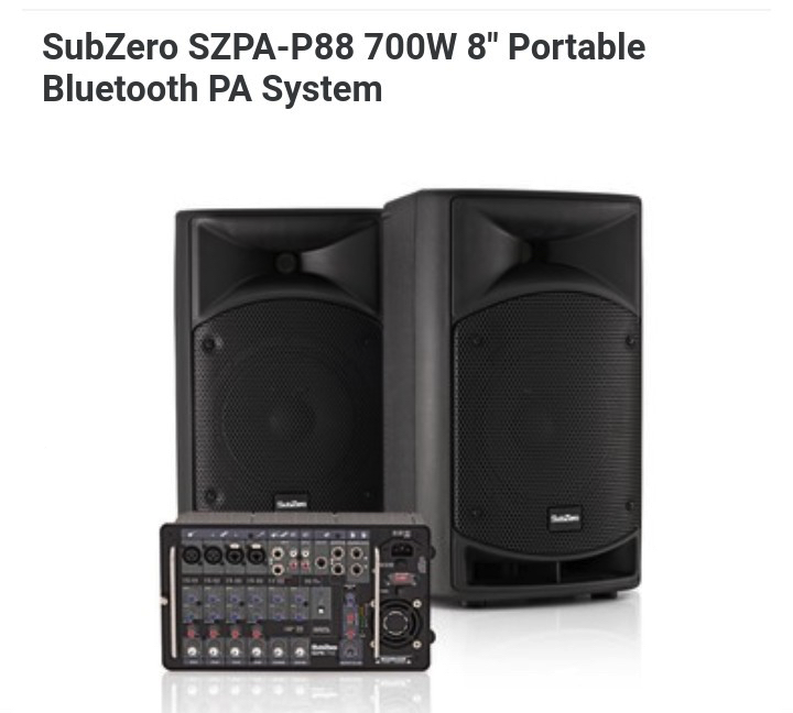 "SubZero SZPA-P88 700W 8"" Portable Bluetooth PA System available for hire from Sid Wright sidwright.co.uk"