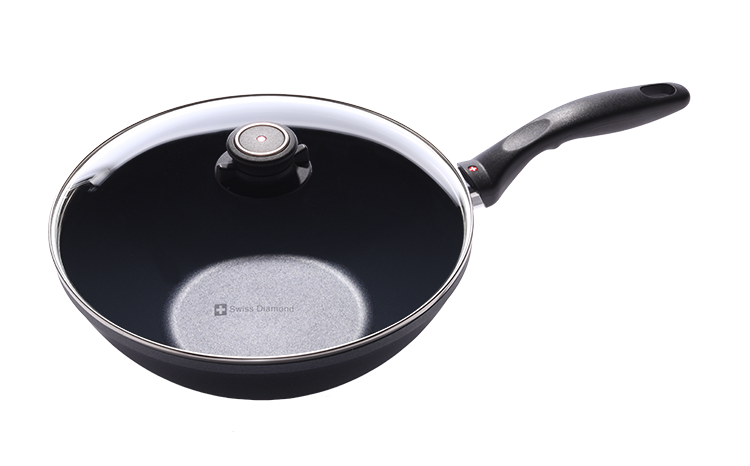 Swiss Diamond 11 Inch Nonstick Wok with Lid
