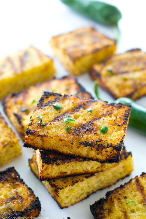 Grilled Cornbread with Jalapeno Honey Butter