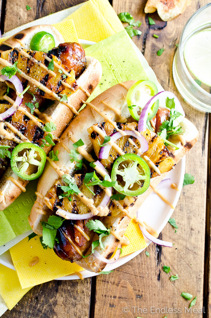 Hawiian Hot Dogs with Grilled Pineapple & Teriyaki Mayo