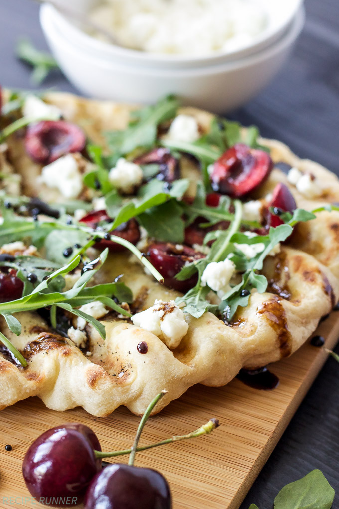 Grilled Cherry, Goat Cheese, & Arugula Pizza