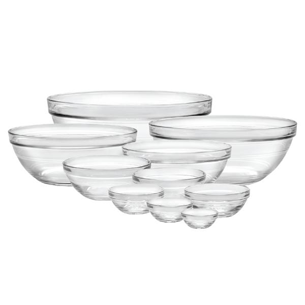 Duralex Lys Stackable Clear Bowl, 10-piece set