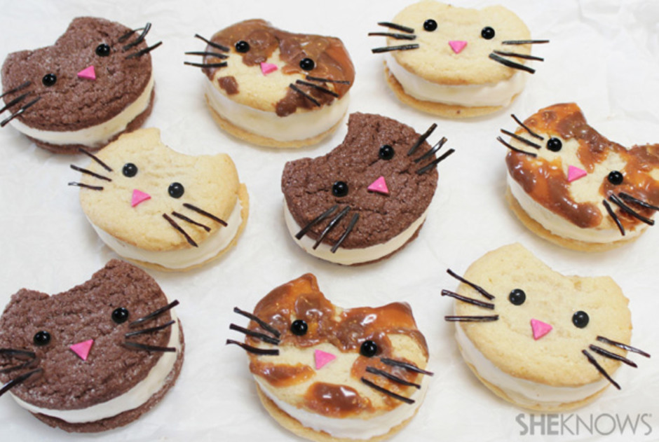 Kitty cat ice cream sandwich faces