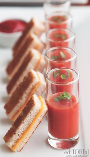 Mini Grilled Cheese Sandwiches Tomato Soup Shots