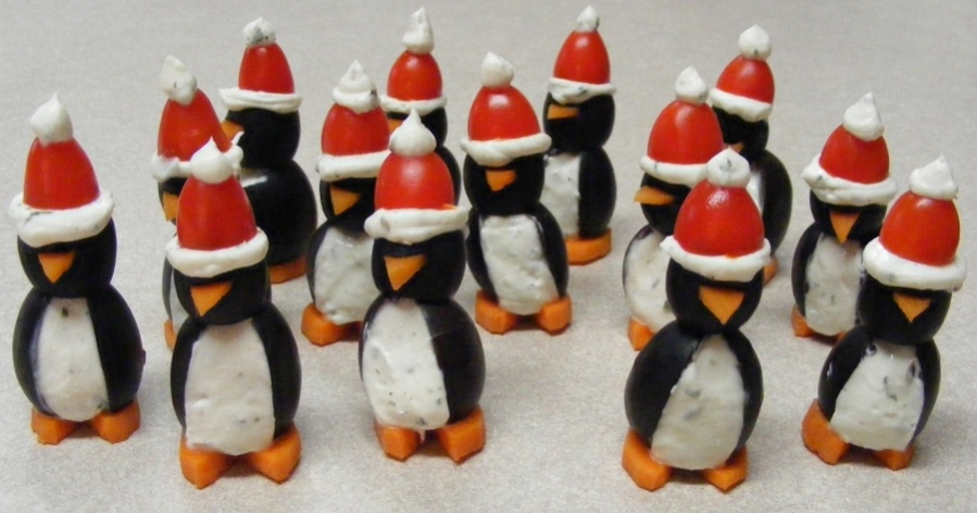 Cream Cheese Olive Penguins