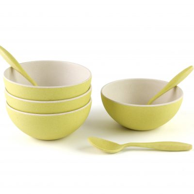 4 Small Bowls with Spoon set-Green