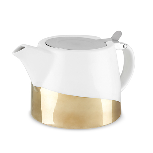 TRUE Brands: Harper Gold Dipped Ceramic Teapot & Infuser