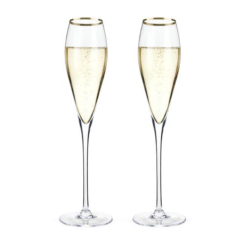 TRUE Brands: Belmont - Gold Rimmed Crystal Champagne Flutes