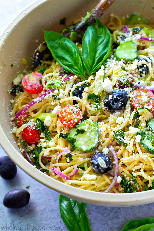 GREEK SPAGHETTI PASTA SALAD WITH DIJON PARMESAN DRESSING