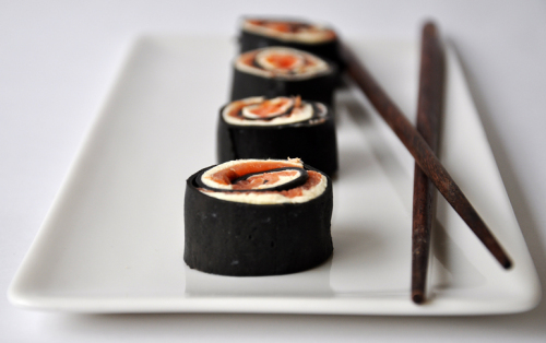 Smoked Ocean Trout, Cream Cheese and Lime wrapped in Squid Ink Pasta