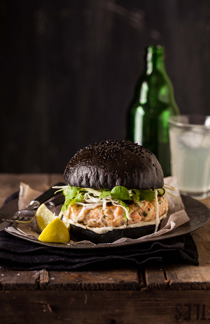 Salmon Burger on a Black Brioche Bun