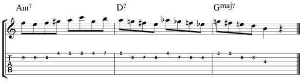 Lick guitarra con escala menor armónica