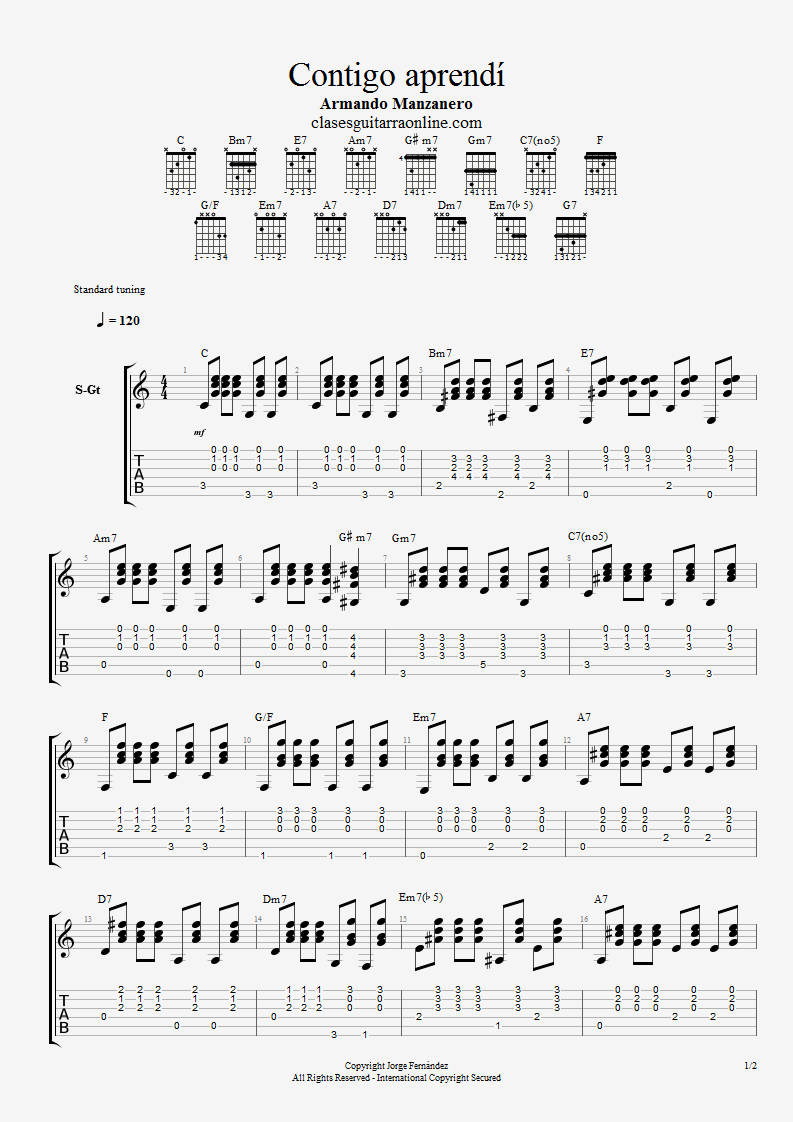 """Contigo Aprendí"" acordes guitarra"