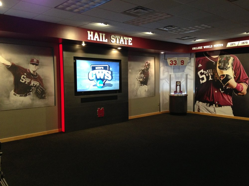 Printed window shades installed in Mississippi State booster club.  Project designed by  j  ackporterdesign.com