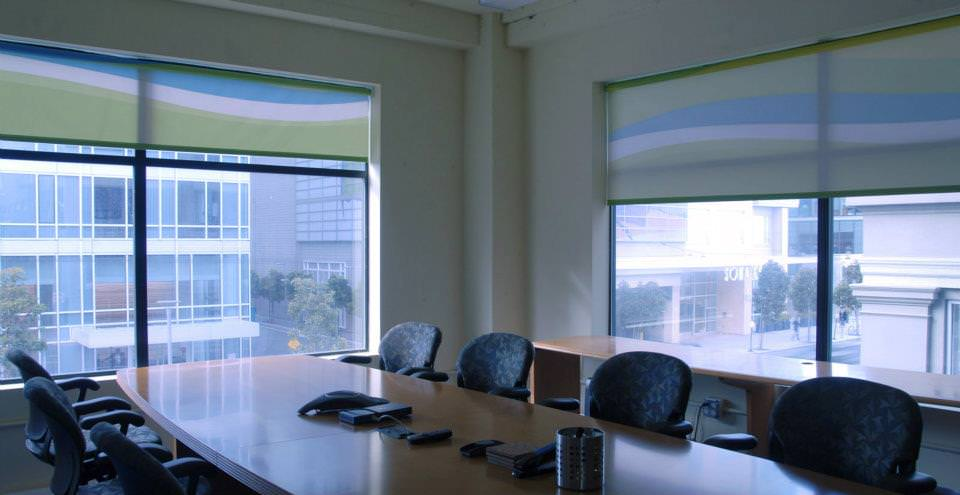 Recurve Printed Window Shades Conference Room