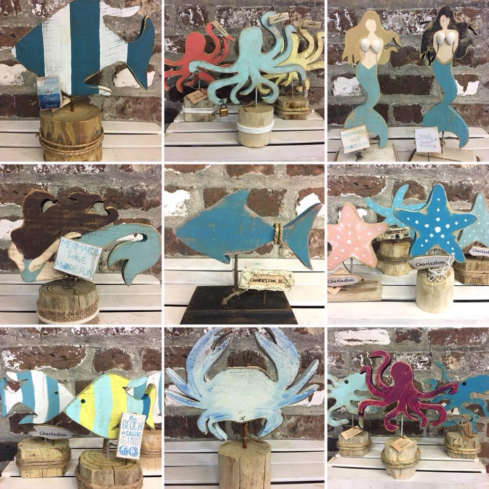 Primitively Coastal  Unique primitive coastal decor made from reclaimed wood & natural drift wood. Starfish, mermaids, seaturtles, sharks, fish, coastal birds, octopus and more.