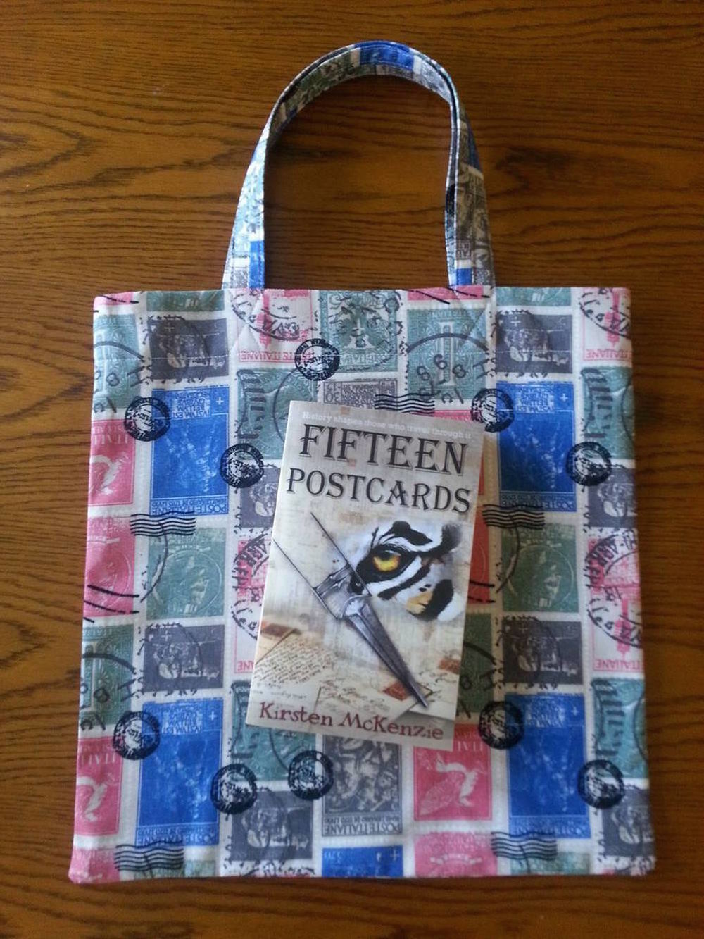 Book bags made from postage stamp fabric