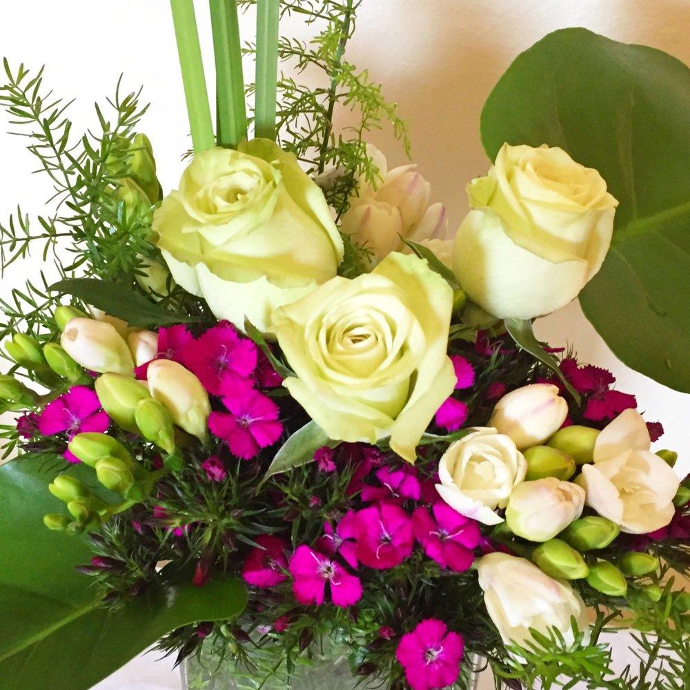 green roses, asparagus fern & white peppery freesia