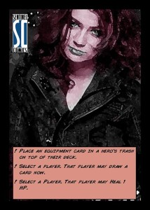 Cat's flipped character card for if she dies in combat.