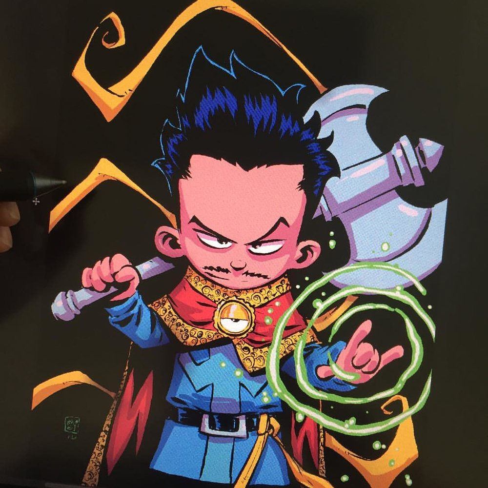 Doctor Strange variant cover by Skottie Young.