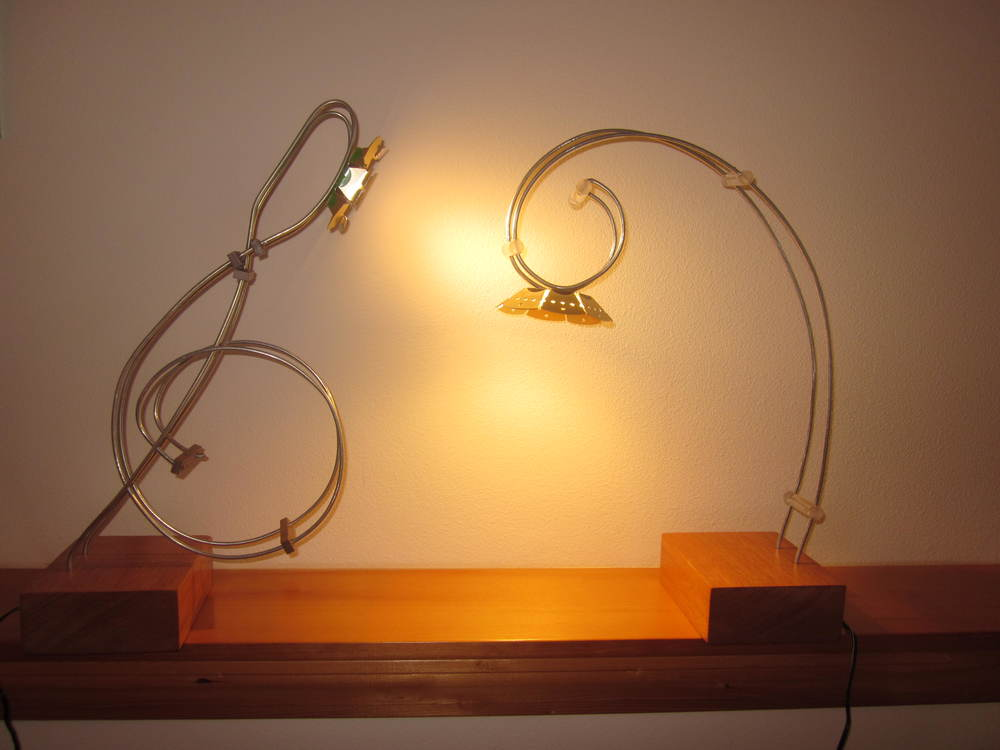 Musical clef bent wire lamps