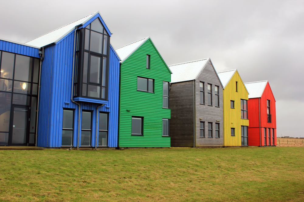 The row of coloured houses on the coast at John O'Groats