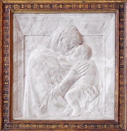 """Donatello, """"Madonna Pazzi"""" circa 1420 marble, 74.5 x 73 x 6.5 cm Bode-Museum, Berlin"""