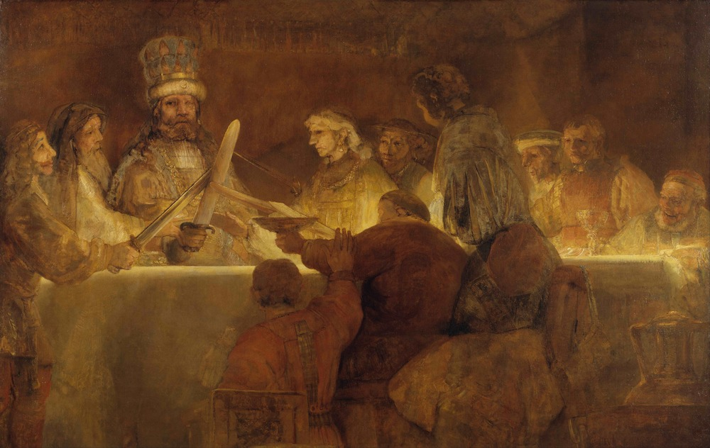 """Rembrandt, """"The Conspiracy of the Batavians under Claudius Civilis""""  about 1661-2, oil on canvas The Royal Academy of Fine Arts, Sweden"""