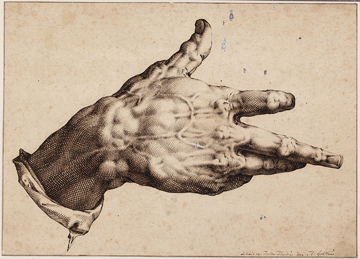 hendrick-goltzius-mhlbracht-haarlem-the-artists-right-hand-with-inscription-de-hand-van-judas-thades-door-h-goltzis
