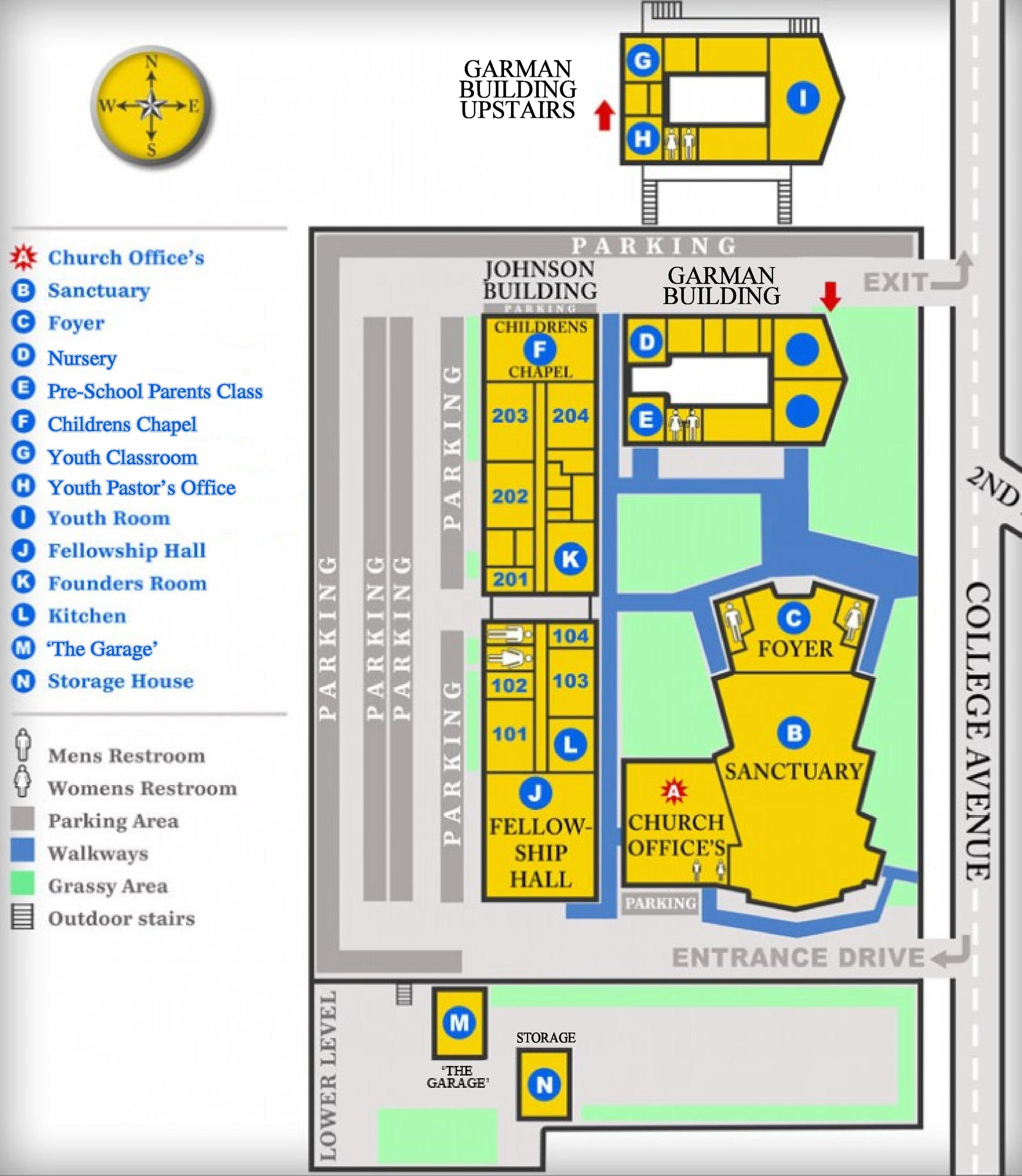 Nazareth Campus Map.Campus Map College Avenue Church Of The Nazarene