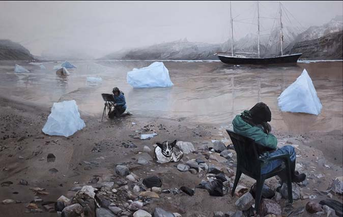 Tama Baldwin and other artists working at Tunabreen, painting by  Zlatan Vehabović, 2017