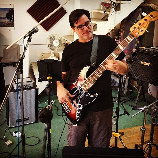 Rehearsing the new songs ... what fun! Rented a rehearsal space and started working through the arrangements on bass and guitar!